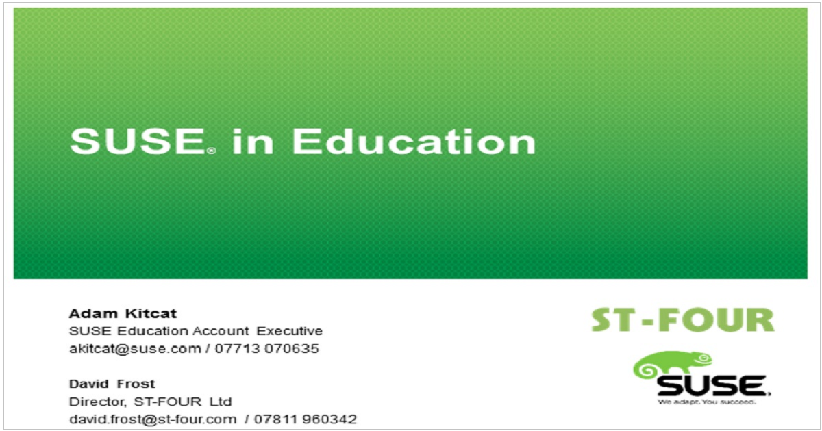 SUSE in Education & Non Profit