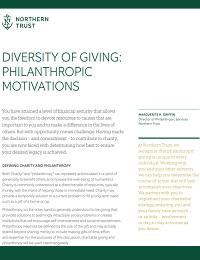 DIVERSITY OF GIVING: PHILANTHROPIC MOTIVATIONS