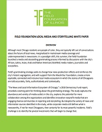 FIELD FOUNDATION LOCAL MEDIA AND STORYTELLING WHITE PAPER